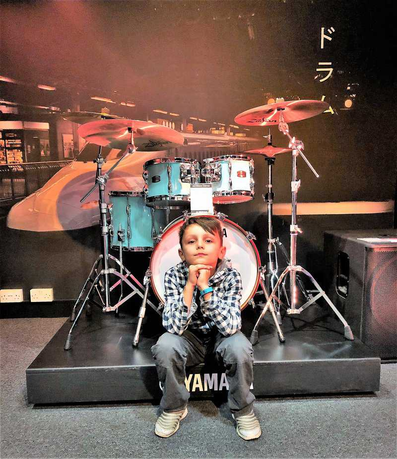 Aron waiting for his next free taster session at Yamaha Music London store in Soho