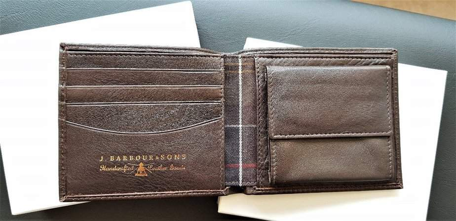 Personalised Dark Brown Barbour Wallet with Coin Holder from Farrar & Tanner