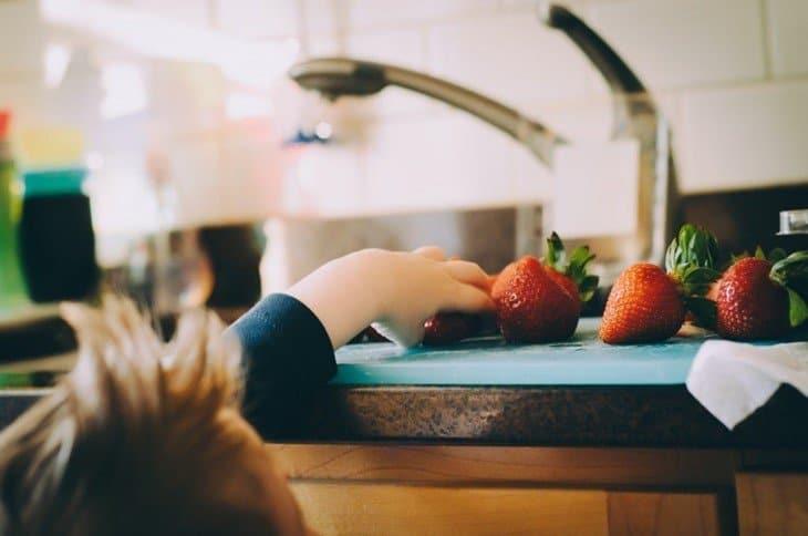 Taking organic strawberries