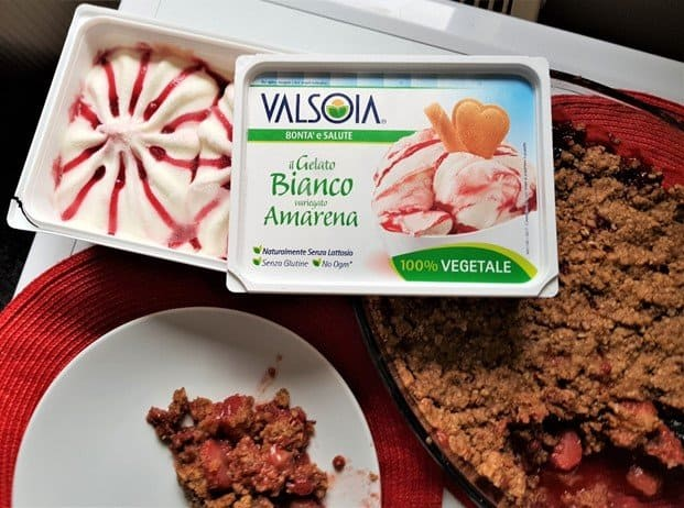 Valsois soya gelato on top of the Gluten free vegan strawberry crumble baked!