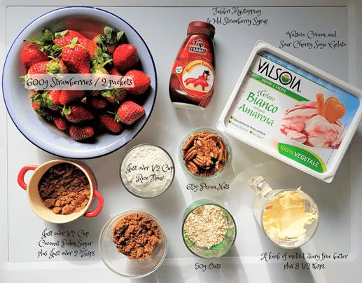 Gluten free vegan strawberry crumble - ingredients