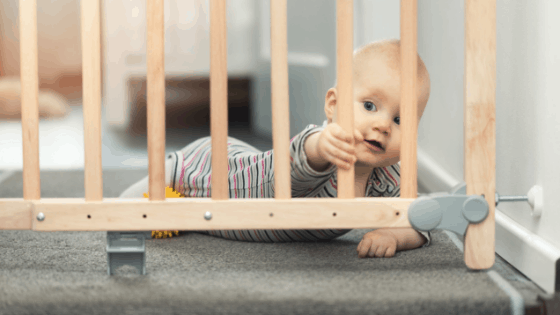 Baby and baby gate