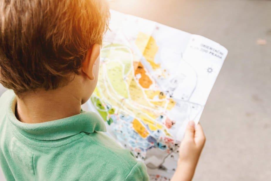 Boy reading a map