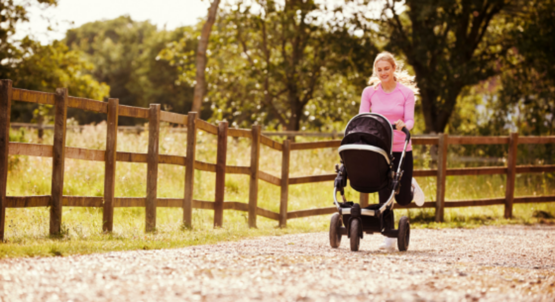 Lady running with buggy