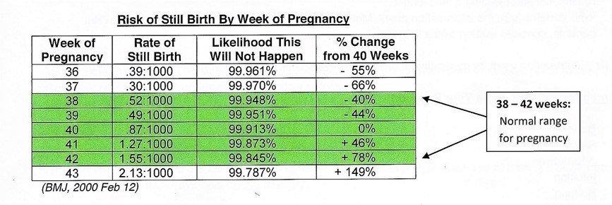 Risk of Still Birth by Week of Pregnancy