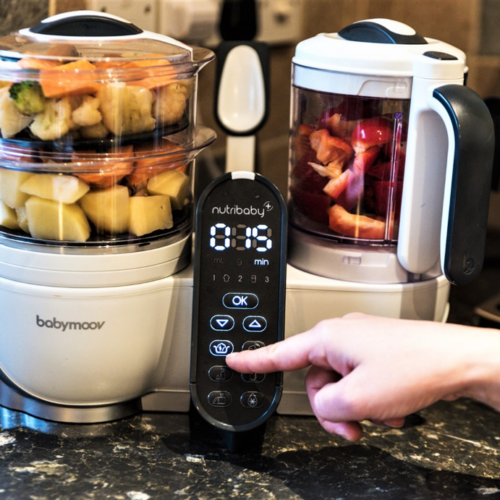Babymoov Nutribaby Plus 5 in 1 Nutritionist Approved Food Processor with Steam Cooker, Multi-Speed Blender, Baby Puree Maker, Warmer, Defroster, Steriliser