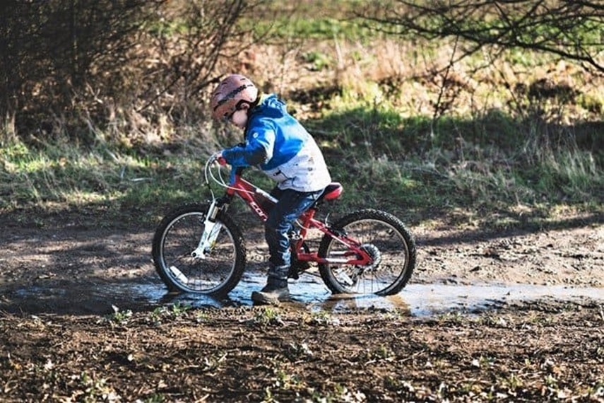 Biking in the park in the winter