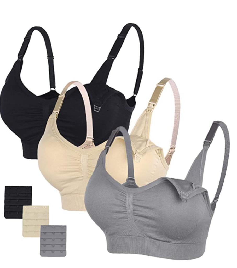 STELLE Body Silk Seamless Maternity Nursing Bra with Pads, Extenders & Clips - - L