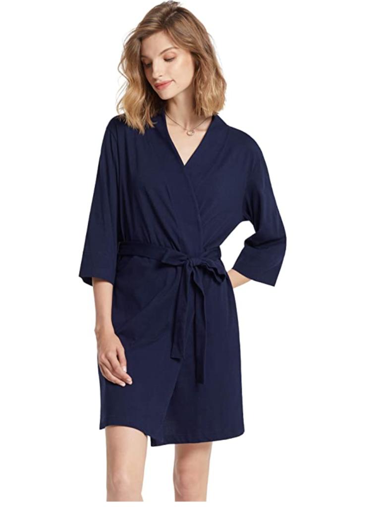 SIORO Womens Dressing Gown, Cotton Kimono Robe- Knit Ladies Bathrobe Nightwear Short S-XXXL