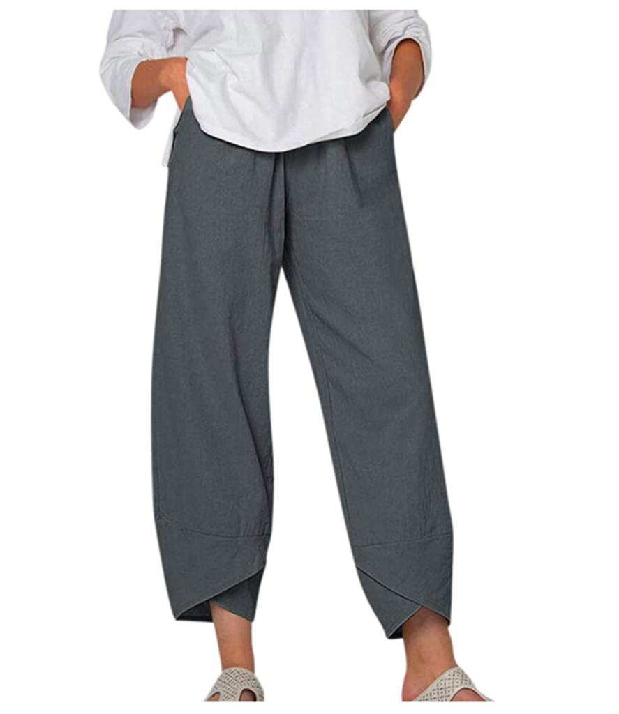 Josily Women's Cotton Linen Pants with Elastic Waist Loose Fitting Casual Cropped Trousers