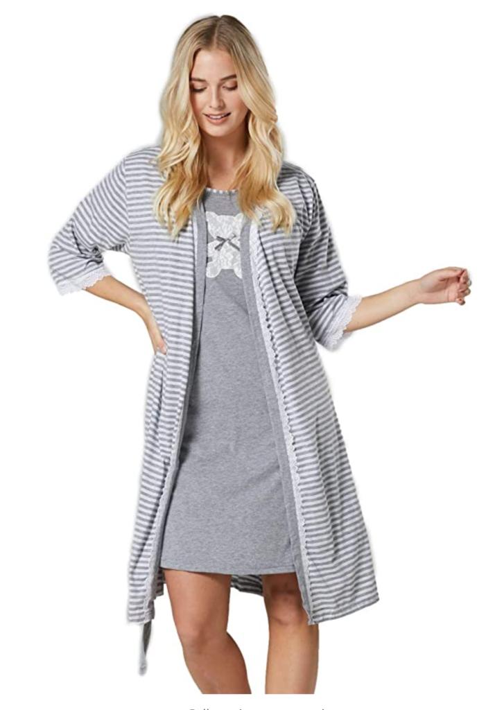 HAPPY MAMA Women's Maternity Hospital Gown Robe Nightie Set Labour & Birth 1275