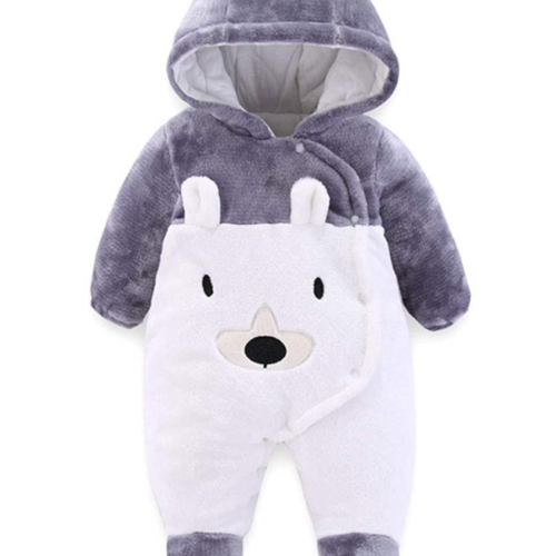 AIKSSOO Baby Winter Jumpsuit Bear Outfit Newborn Hoody Coat Infant Warm Rompers Toddler Fleece Snowsuit