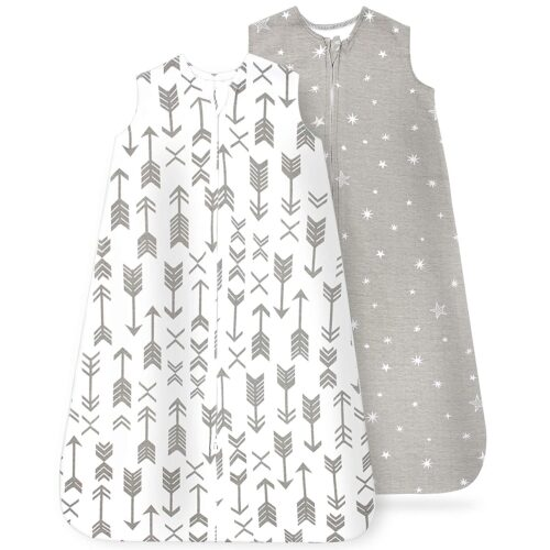 Baby Wearable Blanket, Cotton Sleep Sacks for 6-12 Months, Unisex Sleeping Bag Sack, Medium Size, 2-Way Zipper, 0.5 Tog Breathable Cotton